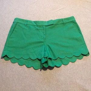 New With Tags J Crew Scalloped Shorts in Green